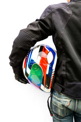 Biker with helmet isolated on white background