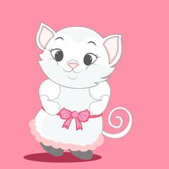 Cute cat in stylish dress .