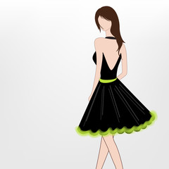 Young fashionable girl in backless dress.