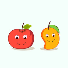 Smiling apple and mango fruit characters.