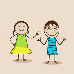 Cartoon of cute little girls in happy mood.