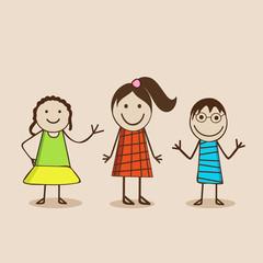 Cartoon of cute little girls in happy mood .
