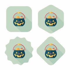 Halloween pumpkin shaped box flat icon with long shadow, eps10