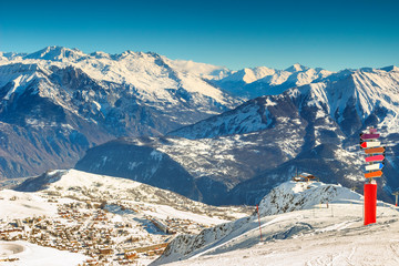 Famous ski resort in the French Alps,Les Sybelles,France