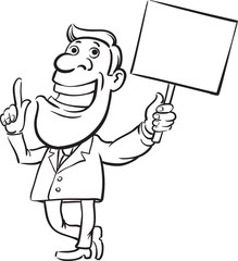 whiteboard drawing - businessman with sign speaking