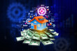 Digital illustration of  House with money