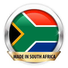 made in south africa silver badge isolated button