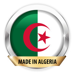 made in algeria silver badge isolated button