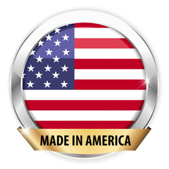 made in america silver badge isolated button