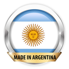 made in argentina silver badge isolated button
