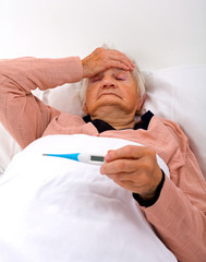 Unwell elderly woman