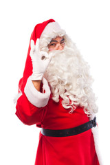 santa claus with glasses and white gloves on white, with copy sp
