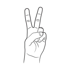 Victory Left Hand Sign Outline Vector