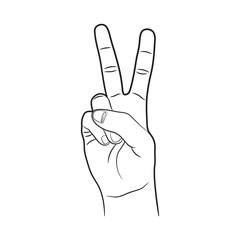 Victory Right Hand Sign Outline Vector