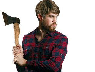 Portrait of handsome bearded young man with the axe
