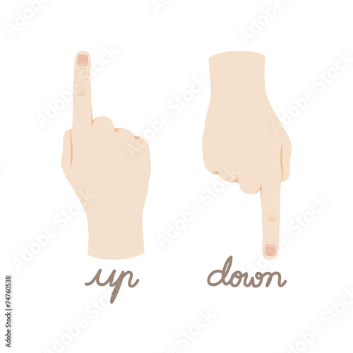Cute Hand Pointing Direction Up and Down Vector - 74760538