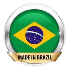 made in brazil silver badge isolated button