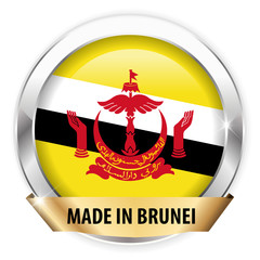 made in brunei silver badge isolated button