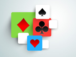 Set of playing card symbols for casino.