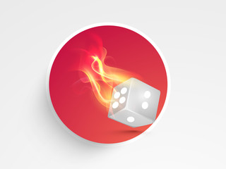 Dice in flame for casino.