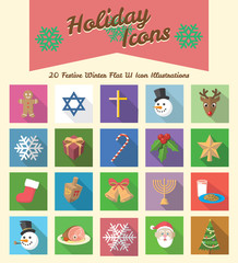 Winter Holiday Long Shadow Icon Illustrations