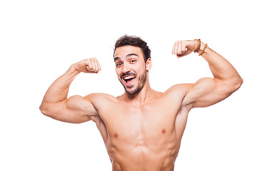 handsome adult man with healthy athletic body, half naked on whi