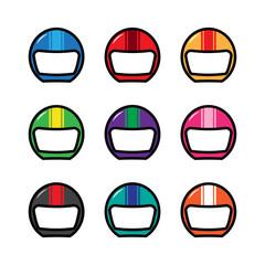 Cute Helmet Driver Biker Racer Colorful Vector