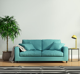 Contemporary teal sofa