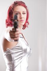 super space vintage heroine with a gun
