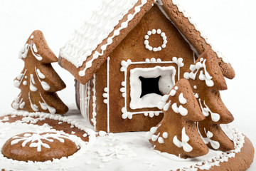 Holiday Gingerbread house isolated on white.