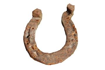rusty horseshoe on white