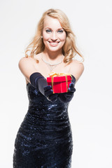 New year's eve fashion woman with blonde hair wearing dark blue