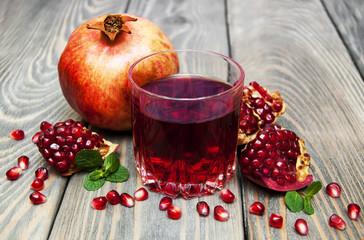 Glass of pomegranate juice