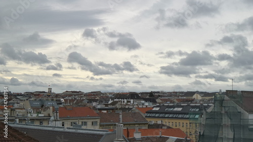 canvas print picture Cloudy weather over Vienna Ottakring