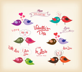 love birds with hearts