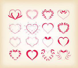 set of decorative floral hearts