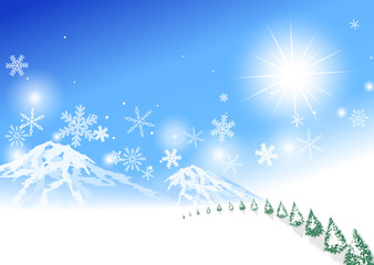 青空 雪山 雪の結晶 雪景色