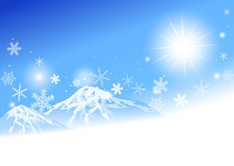 青空 雪山 雪の結晶