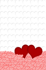 Red, pink and white hearts background