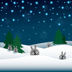 rabbits in the snow, Christmas trees, snowflakes