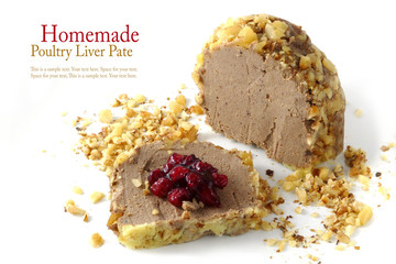poultry liver pate in walnut with cranberry jam, isolated