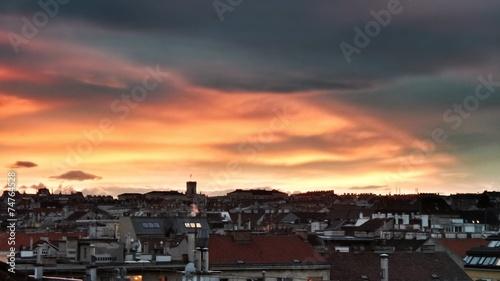 canvas print picture Sunset over Vienna Ottakring