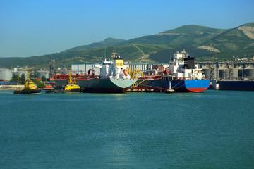 huge tanker in port