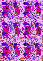 Pink seamless background with purple paisley patterns