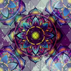 Grunge ornament of mandala circles.