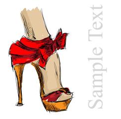 beautiful female high-heeled shoes