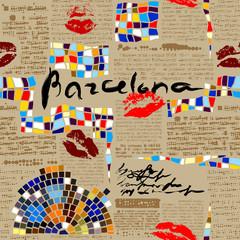 Imitation of newspaper Barcelona with mosaics.