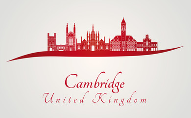 Cambridge skyline in red