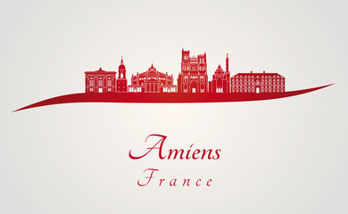 Amiens skyline in red