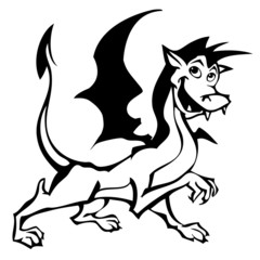 Cartoon character of funny little dragon_01